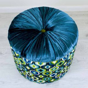 sinine-turkiis-roheline-tumba-merevaik-kuld-kasitoo-disain-moobel-turquoise-blue-ottoman-amber-gold