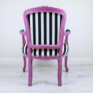 veronica-roosa-tugitool-triibuline-kangas-kangamaaling-kolmas-silm-handmade-armchair-with-painting-kolmas-silm-third-eye-strips-turquoise-pink-blue-dream