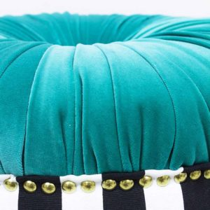 donut-turkiis-triibuline-noop-kasitoo-must-valge-voldid-kuldsed-dekoratiiv-naelad-sinine-roheline