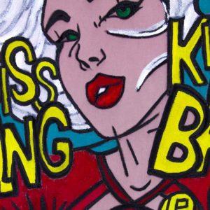 pop-art-komiks-roosa-turkiis-samet-triibuline-must-valge-maaling-joonis-varvilinekuld-hobe-disain-tugitoool-kunst