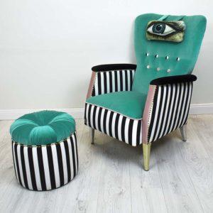 tugitool-silm-turkiiz-triibuline-roosa-varviline-roheline-sinine-kasitoo-disain-noobid-must-maaling-print